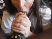 White amateur granny sucking a big black cock